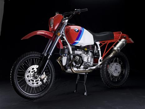 Highly modified 1989 BMW R100GS with ground-up restoration by Richard Moore using unique Moorespeed components and replica Paris-Dakar paint scheme.