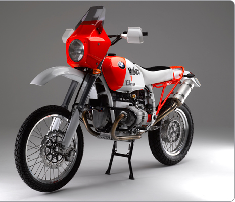 Highly modified 1989 BMW R100GS with ground-up restoration by Richard Moore using unique Moorespeed components and replica Paris-Dakar paint scheme. Tuned engine develops 76bhp at the rear wheel.